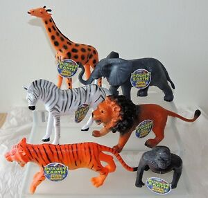 Set of 6 Explore Planet Earth Large Plastic Jungle Animals by Jaru