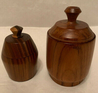2 x Treen Pots with Lids 9cm and 7cm high including lid