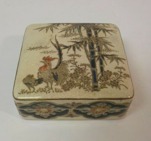 """Antique Japanese SATSUMA 3.25"""" Box, Rooster & Bamboo, Meiji Period"""