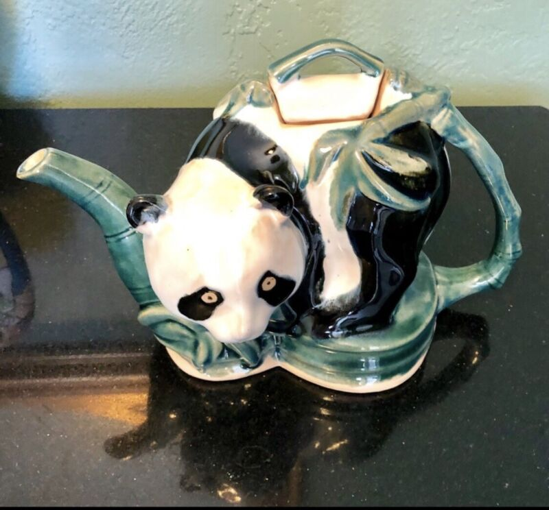 "Vintage Panda and Bamboo Tea Pot 6 x 10"" Ceramic Hand Painted"