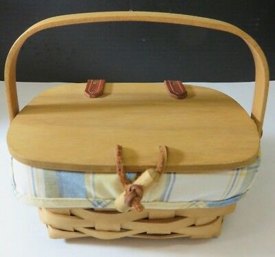 Con Hinge (2002 Longaberger Hinged Single Handled Mini Picnic Basket w/ Liner Excellent Con )