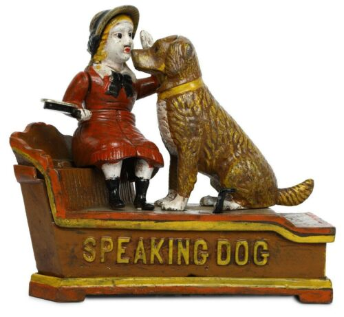 Antique / Vintage Style Cast Iron Mechanical Speaking Dog Money Bank piggy bank