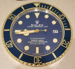 Rolex Submariner Wall Clock Blue Face Gold Tone