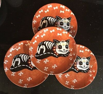 222 Fifth Skeleton Pets Orange Halloween Salad Plates Cat Sugar Skull Set of - Sugar Skull Plates