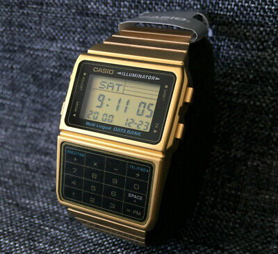 CASIO VINTAGE DBC-611G-1 GOLD CALCULATOR DATA BANK TELEMEMO BRAND NEW