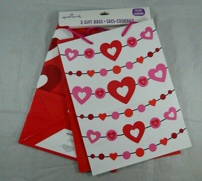 Set of 3 Different Hallmark Valentines Day Gift Bags Sack Hearts Size 9x7x4](Valentines Day Gift Bags)