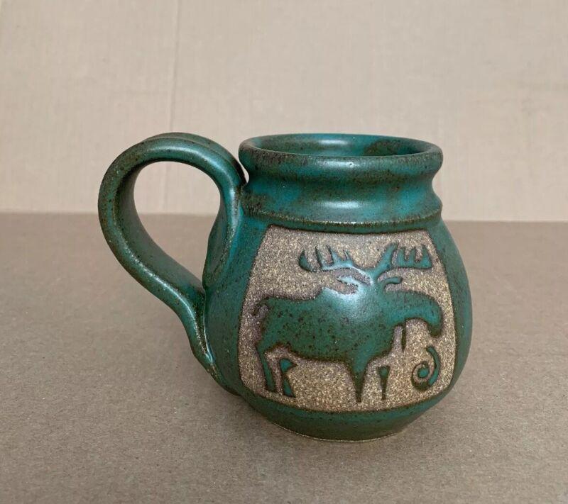 """Signed Vintage Midcentury Modern Pottery Mug Cup 4"""" H"""