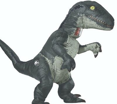 Inflatable Velociraptor Costume Adult Raptor Dinosaur Blow Up Jurassic - Blue Blow Up Kostüm