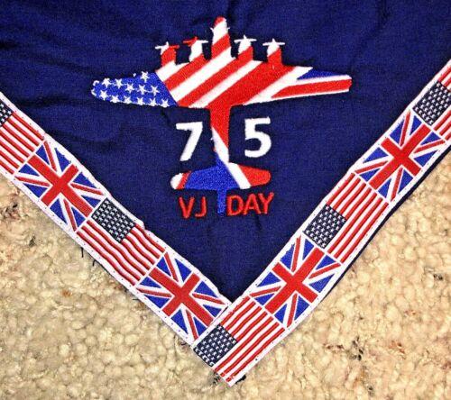 VJ Day 75th Anniversary Neckerchief 2020 - USA & England Flag Border - MINT