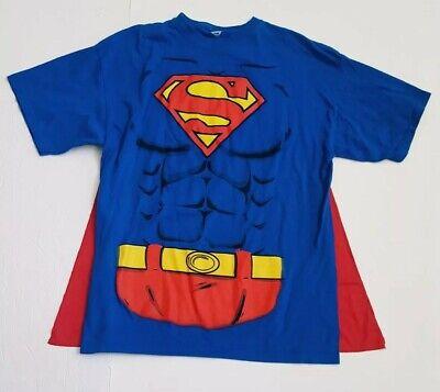 Adult Red Superman Costume Shirt Cape Halloween Costume Super Hero TM DC Comics