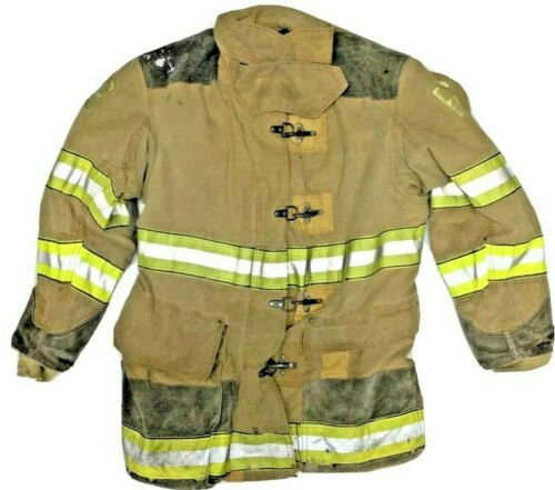 46x35 Globe Firefighter Brown Turnout Jacket Coat with Yellow Tape J887
