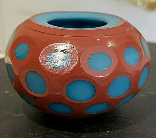 Antique Chinese Peking Glass Brush Washer.c1800. Turquoise/Cinnabar COLLECTOR.!