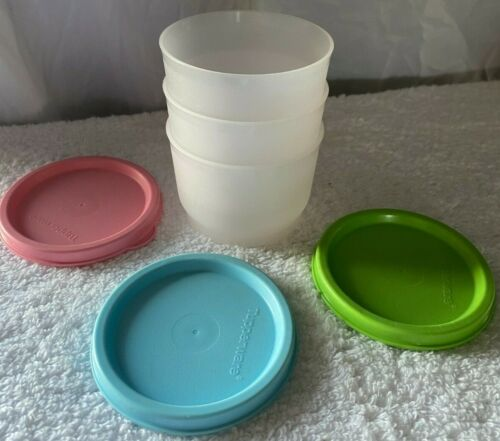 Tupperware Set Of 3 Snack Cups Clear Bowls W/ Multi Colored seals!