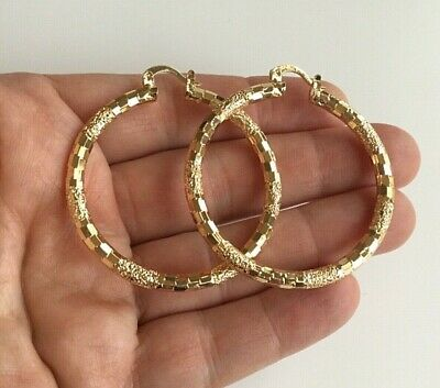 14K GOLD FILLED ARETES -YELLOW  HOOP EARRINGS 43mm            #1 14k Gold Fill Earrings