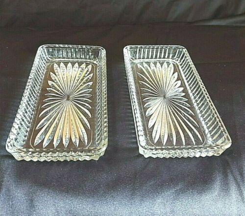 Vintage Crystal Butter Dish Starburst Pattern Clear Rectangular Lot of 2Preowned