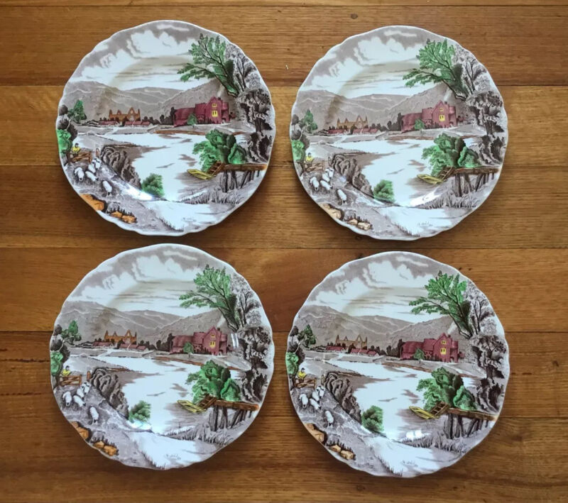 Lovely Set Of 4 Vintage 'tintern' Alfred Meakin Hand Painted Plates