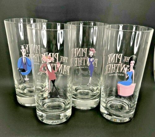 Rare 2004 The Pink Panther 40th Anniversary High Ball Glasses by Shag Josh Agle