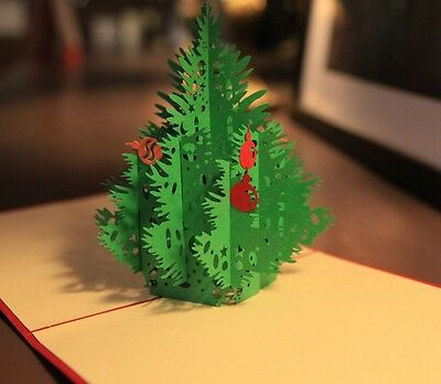 3D Pop Up Greeting Cards Xmas Tree Thanksgiving Best Wish Easter Thanks Gifts ()