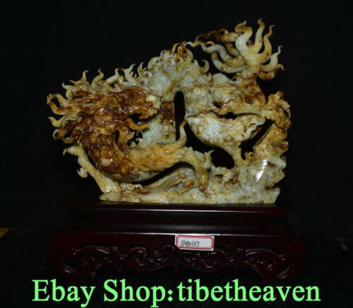 """14"""" Old Chinese Yellow Xiu Jade Master Carving Feng Shui Dragon Luck Sculpture"""