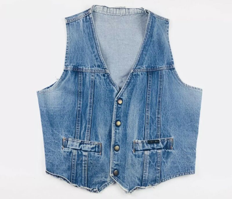 Vintage Harley Davidson AMF Denim Distressed Vest Size Adult Large Vtg