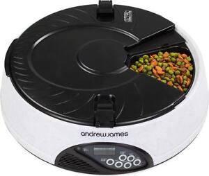 Andrew James Automatic Pet Feeder - Voice Recorder & Timer 6 Portions Cat & Dog
