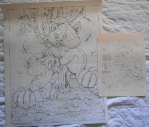 """Tri Chem VTG 4141 BABY RACCOONS PLAYING Picture To Paint & Chart 16 x 20"""""""