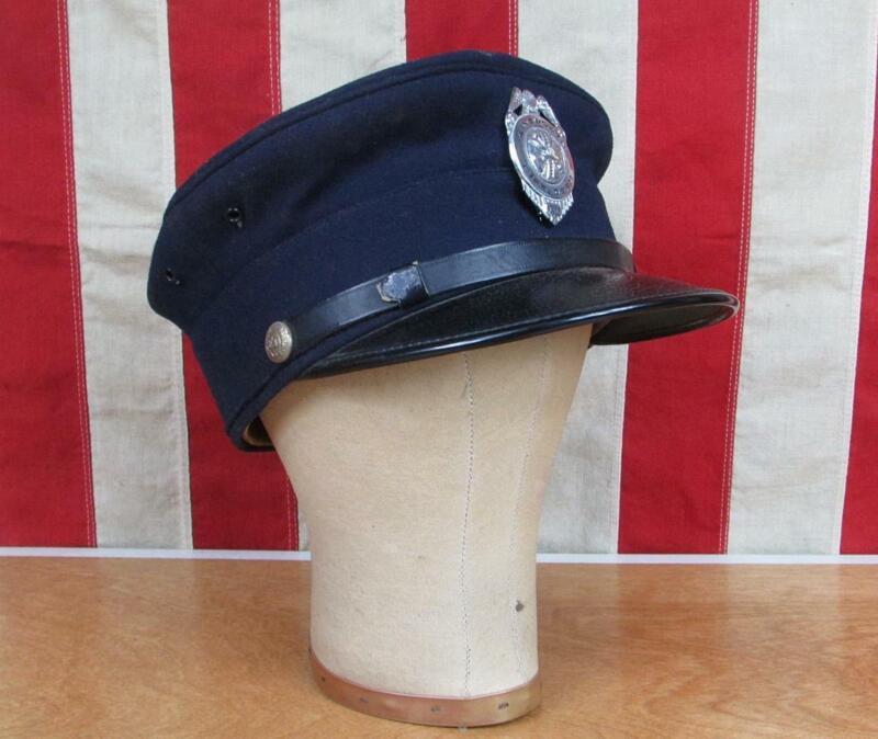 Vintage 1930s Firefighters Wool Visor Cap Hat Ainsworth Fire Dept Nebraska Badge