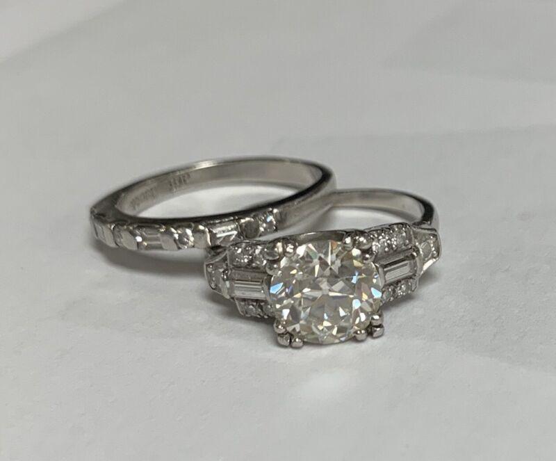 Antique Platinum Wedding Ring Set