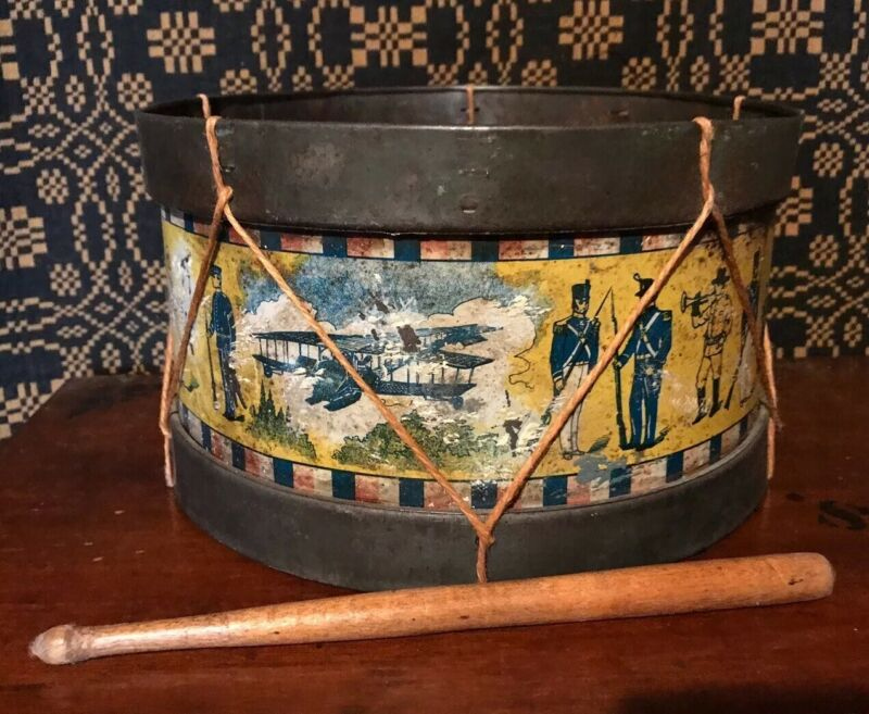 Rare Antique Primitive Nonpareil American Military Tin Drum Set Litho Toy AAFA