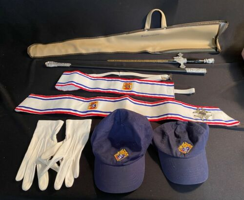 Knights Of Columbus Vintage Sword, Scabbard, Case, 2 Sashes, Gloves & 2 hats