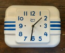 Rare Vintage French Japy White Enamel Wall Clock with Blue Stripes Retro Style
