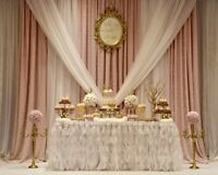Dessert tables with customized backdrop, decor and desserts