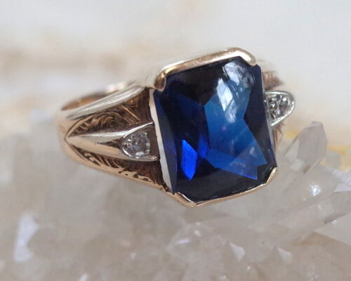 SPECTACULAR Vintage Mens10K Gold Lab Created Blue Sapphire Diamond Ring Size 10