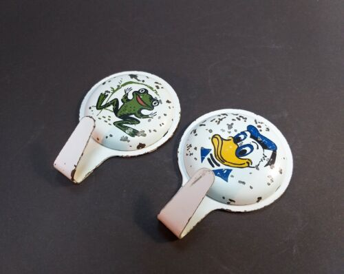 Set 2 Rare Old Vintage Russian Metal Clothes Hanger Coat Hook USSR Donald Duck