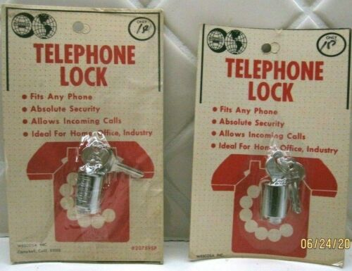 Vintage 2 WESCOSA TELEPHONE LOCK AND KEYS 20759SP for Rotary Phone