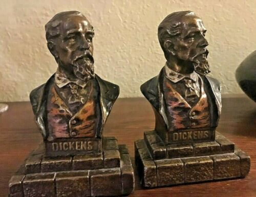 2 Vintage Charles Dickens Poly-chrome Bust Bookends  - Wonderful color detail