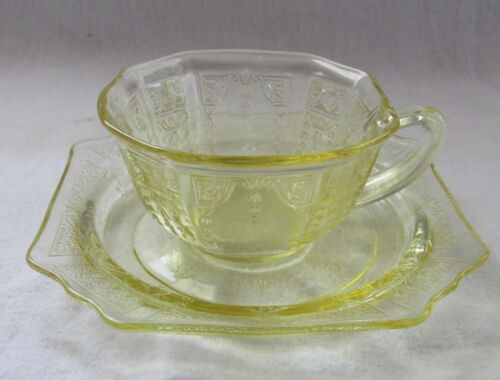 DEPRESSION GLASS TOPAZ AMBER PRINCESS CUP AND SAUCER