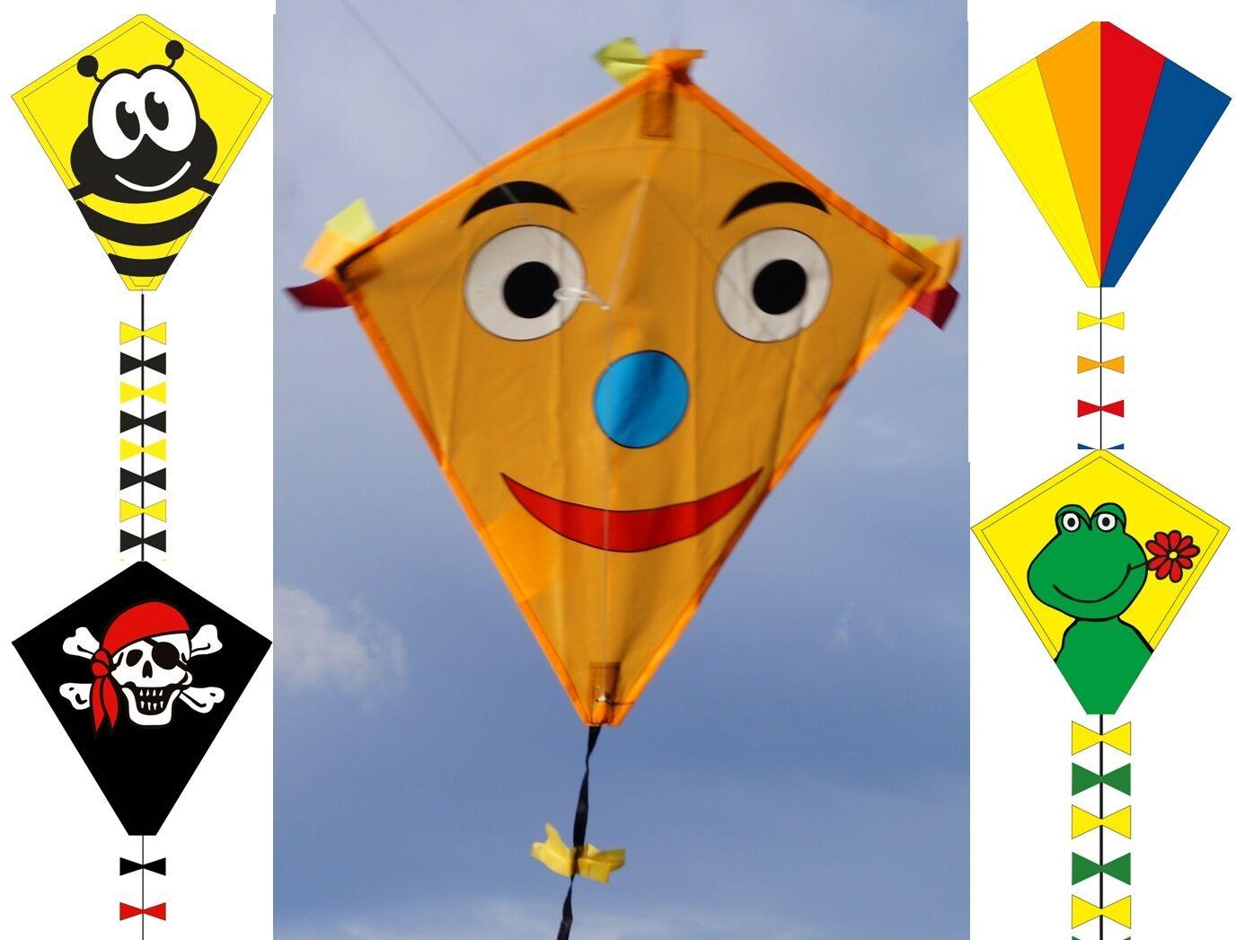 Kinderdrachen Eddy 45x50cm 5 Motive zur Wahl mit Schnur Einleiner Flug-Drachen