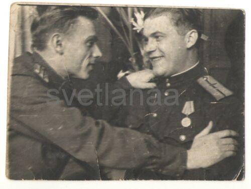 1945 WWII Military buddies Love Embrace Handsome men Soviet Army original Photo