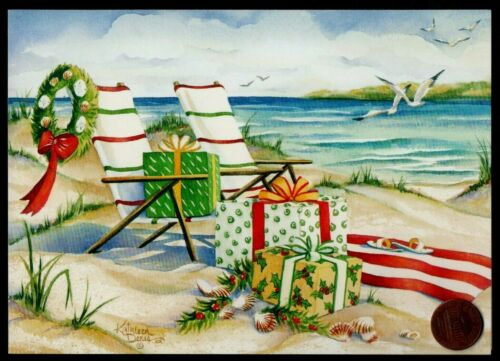 Christmas BEACH Chairs Wreath Sea Birds Shells Gifts -  Christmas Greeting Card