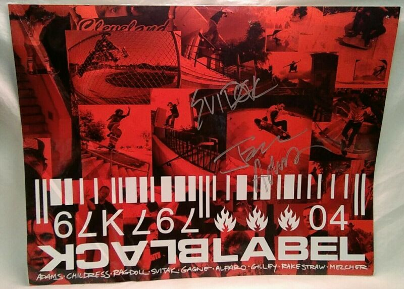 Jason Adams Autographed Black Label Skates Rare Skateboarding Poster 17 x 22in.