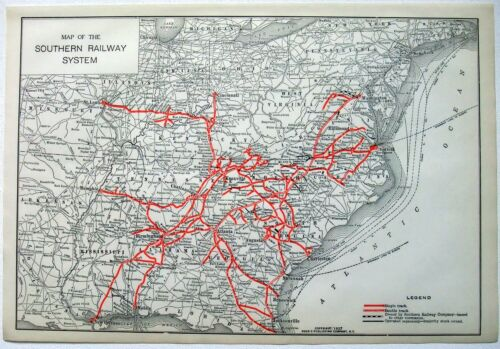 Southern Railway - Original 1927 System Map. Vintage Railroad