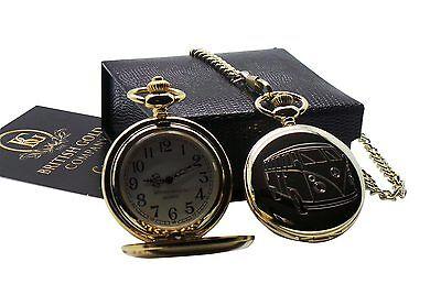 VW CAMPER VAN BUS Classic Retro 24k GOLD Clad Pocket Watch in Luxury Gift Box