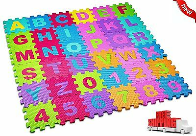 36 BLOCKS Puzzle Mat Learning ABC Alphabet Study Kids Letters Floor Play Toy NEW