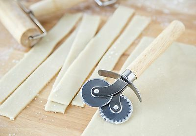 DUAL RAVIOLI PASTA and PASTRY CUTTER WHEEL  One Flat, One Fluted Stainless Wheel Fluted Pastry Cutter