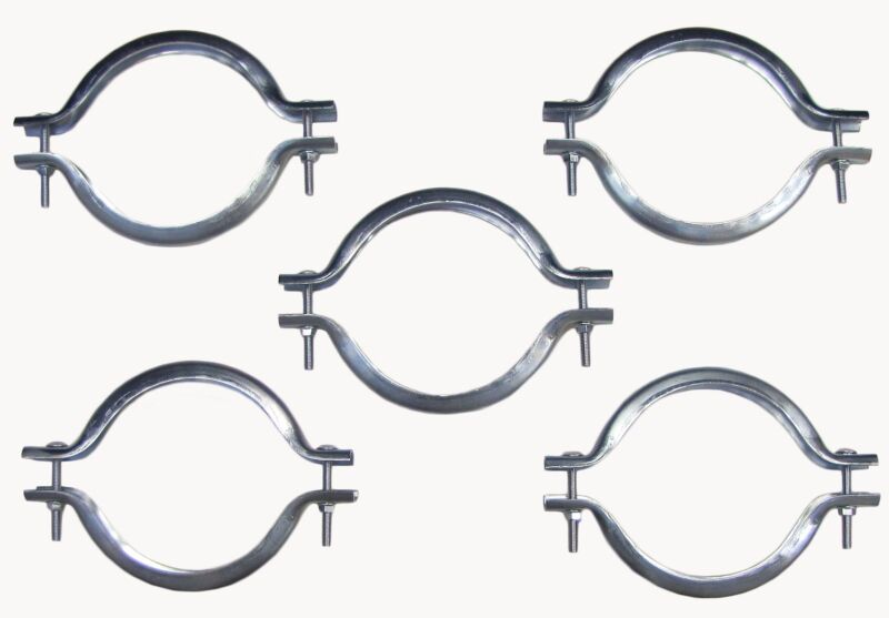 BOX OF FIVE 6 INCH GALVANIZED CLAMP BANDS WITH HARDWARE
