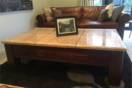 Expensive Quality Marble Coffee Table Wooden Base
