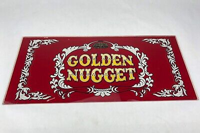 Vintage GOLDEN NUGGET Casino Ballys Slot Machine Belly GLASS PANEL Sign Art...