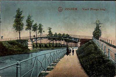 Iseghem Belgien alte Color Postkarte ~1914/18 Vaart Hooge brug Brücke ungelaufen