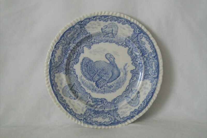 Lot 6 Antique Staffordshire England Thanksgiving Blue Turkey Dinner Plates 10.5""